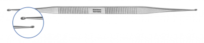 Stape curette according to HOUSE, length 178 mm, spoon 1,0/1,6 mm, light curved 10°